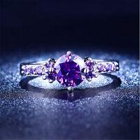 Fashion Amethyst Gemstone Silver Ring Wedding Party Jewelry Gift Size 6 7 8 9 10