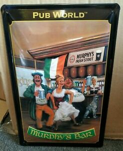 MURPHY'S BAR, IRISH : EMBOSSED METAL 3D ADVERTISING SIGN 30x20cm BAR/PUB WORLD