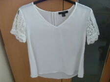 Ladies Atmosphere v-neck ladies dip hem blouse with lacy short sleeves - Size 8