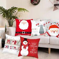 Christmas Cushion Cover Pillow Case Cartoon Elk Santa Snowman Home Xmas Decor