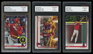SHOHEI OHTANI/MIKE TROUT TOPPS GETS HOT 3 CARD LOT 1ST GRADED 10 ROOKIE CUP