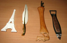 Lot Of 4 Figural Bottle & Can Openers Eiffel Tower Feather Fish Rhinoceros