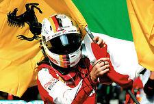 Sebastian VETTEL SIGNED FERRARI Flag 12x8 Formula 1 Parc Ferme Photo AFTAL COA