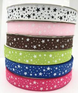 10 Yards Stars Printed Grosgrain Ribbon Hair Bow/Christmas/wedding DIY 25mm