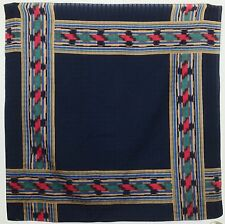 "TERRIART Navy, Gold, Red Striped Border 29"" Square Scarf-Vintage"