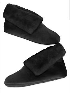 Charter Club black faux fur microvelour bootie slippers size S 5-6