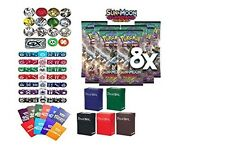 Pokemon, Sun & Moon Guardians Rising Booster pack X 8 Free Deck Box Random Bonus