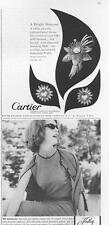 1962 Cartier details earclips & brooch, & Hadley fashion dress PRINT ADs 2 for 1
