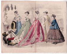 Victorian Color Fashion Plate LES MODES PARISIENNES Jun 1867 Little Girl Singing