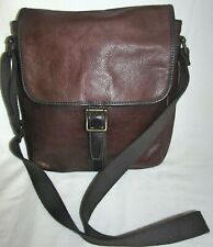 Fossil Brown Pebbled Leather Medium Messenger Crossbody Shoulder Bag Mens Womens