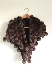 MINK FUR POM POM Open Weave Mahogany Brown Shawl, Cape, Beautiful And Soft!