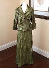 Victor Costa Green Crinkle Floral Formal Skirt Dress Suit 10 / M Evening Formal