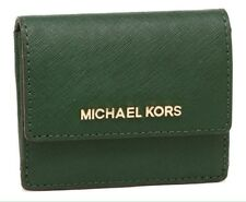 Michael Kors Jet Travel Leather Credit Card Case ID Key Holder Wallet Moss NWT