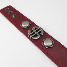 Mens Womens Dollar Sign Money Symbol Studs Brown Leather Wristband Bracelet NEW