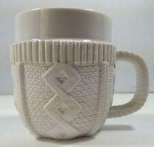 White Coffee Tea Mug Cup with Ceramic Knit Sweater Cozy Molla Space Decorative