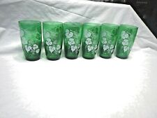 Set Of 6 Anchor Hocking Forest Green And White Grapes & Leaf Glasses