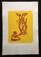 Claudia Shneider, Hat in hand, Farblithographie, 2005, handsigniert