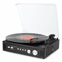 1byone Bluetooth Record Player Vinyl Turntable Radio Built In 3 Speakers Music