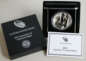 2011 P US Mint September 11th Silver National Medal Proof Medal Box and COA