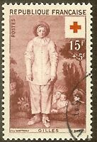 """FRANCE TIMBRE STAMP N°1090 """"CROIX ROUGE GILLES, WATTEAU"""" OBLITERE TB"""
