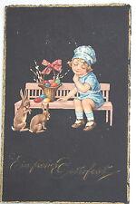 16000 ak Pascua conejito de Pascua con niño en banco 1925 PC Easter