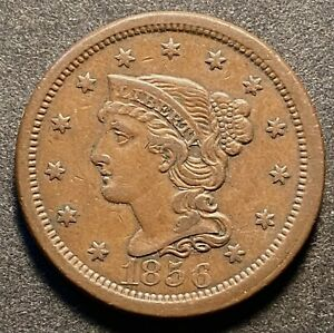 NICE 1856 BRAIDED HAIR LARGE CENT    FREE US SHIPPING