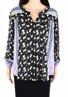Style & Co Women's Top Black Size 2X Plus Floral Split Neck Button Down $49 #076