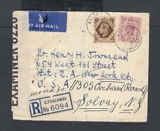 UK 1941 WWII CENSORED REGISTERED AIRMAIL COVER ILFRACOMBE TO NEW YORK