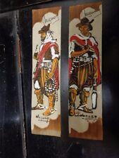 Coppia segnalibro in cuoio pelle URUGUAY HANSEN Gauchos pampa dipinti a mano di