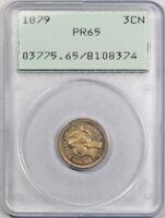 1879 3CN Proof Three Cent Nickel PCGS PR 65 Low Mintage Old Rattler Holder !