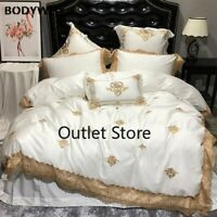 Oriental Embroidery Luxury Royal Bedding Set Egypian Cotton Lace King Bed Set