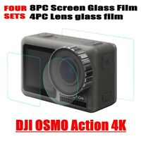 4Set Tempered Glass Film Dual Screen & Lens Protector For DJI OSMO Action Camera