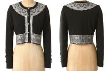 Anthropologie Brushed Lace Cardigan Small 2 4 Black Wool Cropped Sweater Cardi S