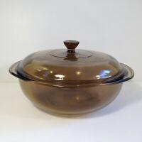 Vintage Pyrex 024 Amber/Smoke Covered 2 Qt Casserole Dish  w/ Lid 624-C