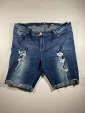 Womens Almost Famous Stretch Low Rise Bermuda Denim Jeans Shorts Size 20