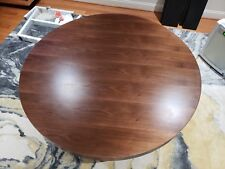 Sunpan Icon Esso Round Walnut and Metal Dining Table