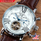 Mens-Automatic-Mechanical-Watch-Date-Day-Silver-White-Dial-Brown-Leather-USA