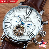 Mens Automatic Mechanical Watch Date Day Silver White Dial Brown Leather USA