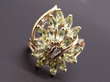 10k Yellow Gold 2.29ct Marquise Cut Peridot Diamond Cluster Cocktail Band Ring