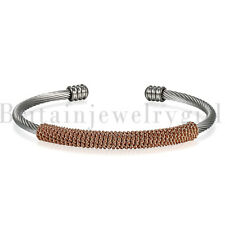 3mm Cable Wire Bracelet Stainless Steel Twisted Cuff Bangle for Men Women