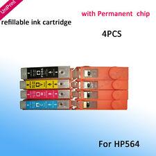 For HP 3070 B209a B210A 5515 5520 6510 3520 4PCS 564 564XL refillable cartridge