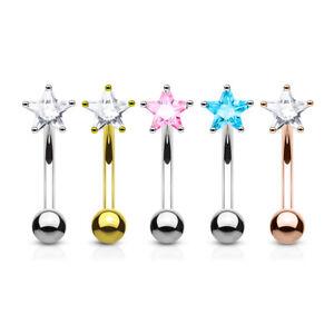 DAINTY CLEAR STAR SHAPED CLEAR CURVED STEEL EYEBROW BAR choice of colours