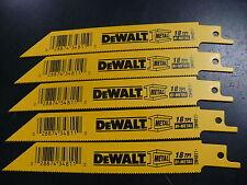 New 5 Pcs Dewalt 18 Tpi Bi-metal Sawzall Reciprocating Saw Blades-Free Shipping