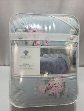 Simply Shabby Chic Queen Comforter Set Bella Misty Blue COTTON Floral Rachel