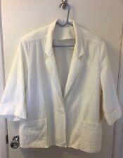 Womens Jacket and Pant Suit, Ivory, Textured Cotton, Size 42 Jacket & 34 Slacks