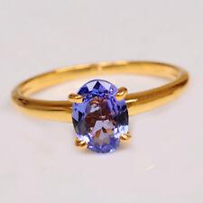 585er Gelbgold 1,50Ct Ovale Form 100% natürliche blaue Tansanit Verlobungsring
