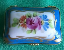 Hand Painted French Trinket Box Floral Gold Trim Porcelain Made in France