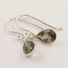 Natural SMOKY QUARTZ Gemstone 925 Sterling Silver Girl's Pretty Earrings