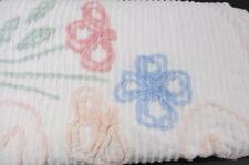 """Vintage Chenille Bedspread Blanket Pastel Floral Flower Cutter Crafts 90"""" X 102"""""""