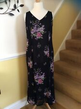 Ladies Monsoon Black Floral Maxi Dress Size 14